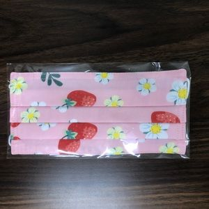 Strawberry & Flowers Pleated Face Mask